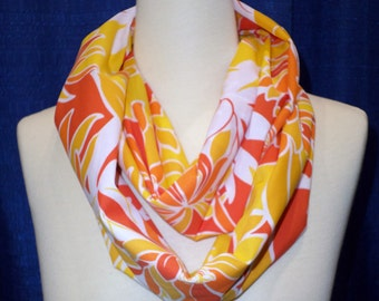 Handmade Women Fashion Infinity Scarf Cotton Summer Scarf all Season Scarf Bright Orange Floral - Gift for her