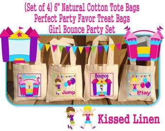 Fun Bounce House Jump Play Birthday Party Treat Favor Gift Bags Mini Cotton Totes Children Kids Girls Boys -  Set of 4 or 8