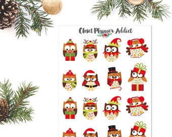 Cute Christmas Owls Planner Stickers | Christmas Stickers | Owls Stickers | Birds Stickers | Santa Owls Stickers (S-289)
