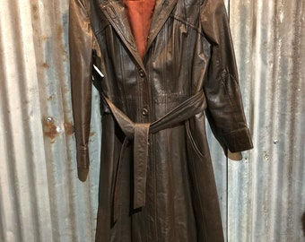 Vintage Brown Leather Hooded Trench Coat