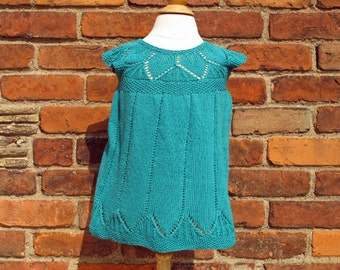 Lacy Green Leaf Dressy, size 18 - 24 months, cotton, green, hand knit