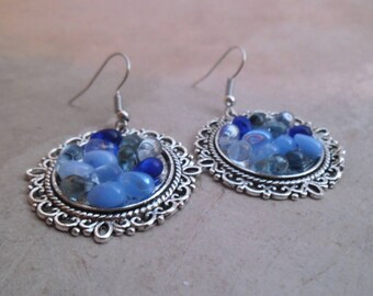 Earrings dangle drops blue Czech glass beads and metal hangers