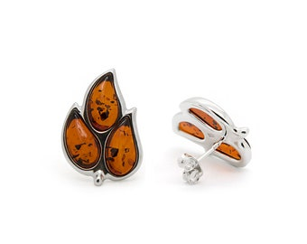 Leaf Stud Earrings - Amber Leaf Earrings - Leaf Earrings - Silver Leaf Earrings - Amber Earrings - Leaf Jewelry - Statement Earrings -489E1