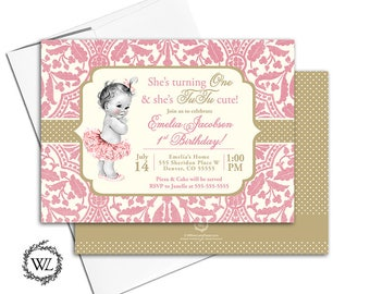 first birthday party invitation girl, tutu birthday invite, 1st birthday invitation pink and gold, printable or printed - WLP00363