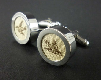 Cream and brown sparrow mens cufflinks – cotton anniversary gifts for him
