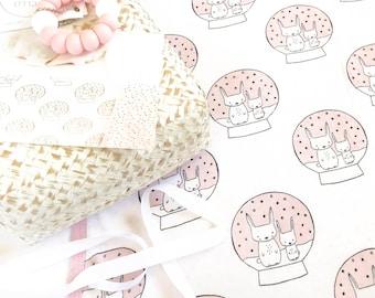 Baby Girl Crib blanket - Snowglobe Bunny in pink , reversible, bunny blanket, baby girl blanket,  couverture de bebe, baby deke, baby decke