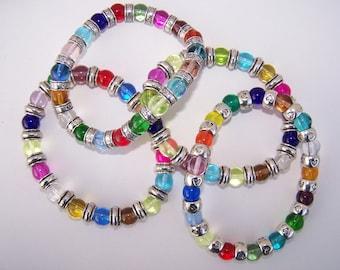 Colorful Glass Bracelet, Beaded Bracelet, Elastic Bracelet, Glass Beaded Bracelet, Listing for one