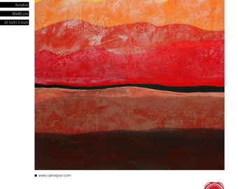 Red Landscape, Modern, Free Shipping, Abstract Art, Acrylic Painting, Red and Black, Original Painting, Carlos Pun Art