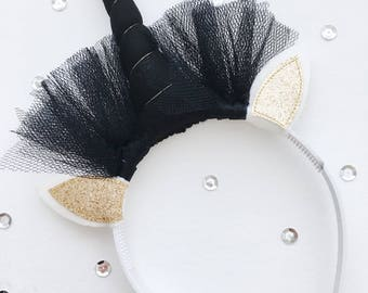 Unicorn hair circlet, black Horn, gold glitter ears, 24 cm high, 20 cm wide, Decoration, Kids room, Wholesale