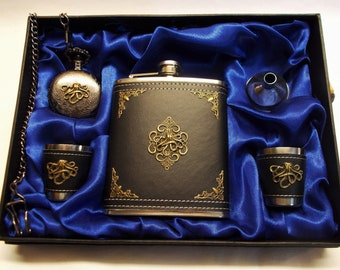 Octopus Flask & Pocket Watch Set - Personalize Gift - Artisan Original Flask, Funnel, Designed Shot Cups, Pocket Watch  - Free US Shipping