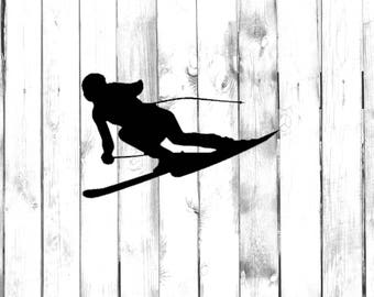 Downhill Skier Flying Down the Mountain - Car/Truck/Home/Computer/Laptop/Phone Decal