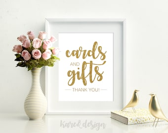 Faux Gold Glitter Cards and Gifts Sign, Cards and Gifts Printable, Gift Table Sign, Wedding Template, Rustic Wedding Sign, Instant Download