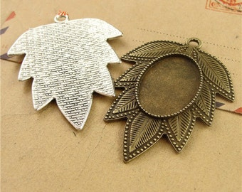 Lot 25PCS Pendant Tray, Bezel Setting, 18x25mm Cabochon Tray - Antique Bronze,Antique Silver
