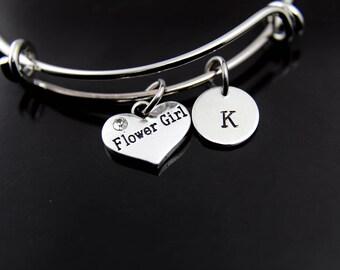 Flower Girl Charm Bracelet Silver Flower Girl Bangle Flower Girl Charm Flower Girl Jewelry Flower Girl Gift Personalized Initial Bracelet
