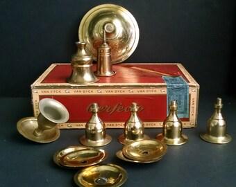 Vintage Brass Hardware Candelabra Chandelier Lamp Parts Cigar Box