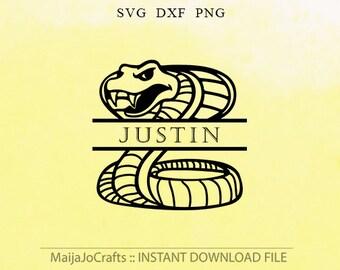Snake Monogram Frame SVG PNG DXF monogram frames Svg cut files instant download silhouette cameo cricut designs cut file Clip art Snake Svg