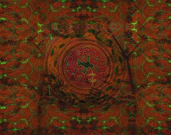 Shipibo Ayahuaska Humming Bird Sacred Patterns Tapestry Wall Hanging, Visionary Art, Psychedelic, Shamanic, Sacred Geometry, AJJAYA
