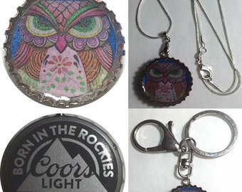 Coors Light Beer bottle cap OWL Folk Art Drawing Keychain, Pendant, Necklace