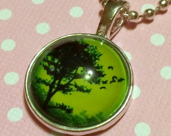 Bewitching Green Tree Pendant / Acid Green / Creepy Haunted Tree Necklace / Colorful Sky / Alternative Horror Jewelry / Hauntingly Beautiful