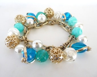 Ocean Blue Beaded Charm Bracelet Faux Pearls Gold Tone Metal Vintage Costume Jewelry from TreasuresOfGrace
