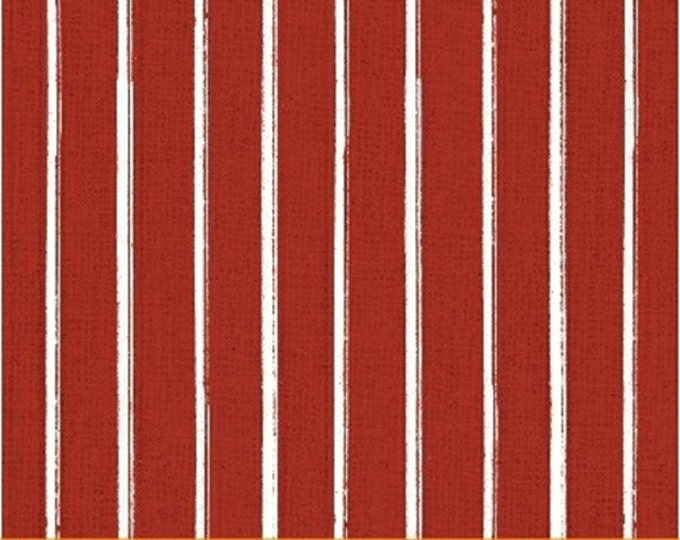 Half Yard Hidden Cove - Stripe in Red - Cotton Quilt Fabric - by Sue Schlabach for Windham Fabrics - 40434-1 (W3033)
