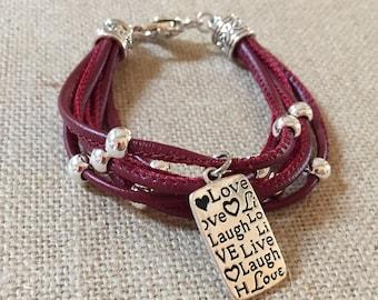 Love Laugh Live multi strand leather bracelet
