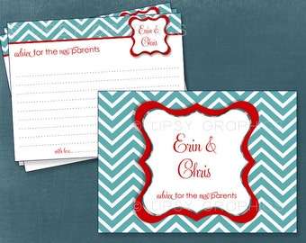 Fancy Chevron Advice & Well Wishes for MOM / BRIDE / GRADUATE. Printable Cards. Any colors by Tipsy Graphics. Great for Recipe cards too