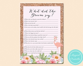 Flamingo Confetti What did the Groom Say, What did he say about her, Newlywed Game, Rose Gold Flamingo Bridal Shower, Wedding Shower BS130