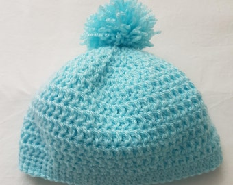 Handmade crochet baby hat with pompom. Autumn winter hat.