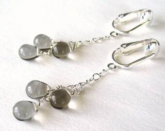 Dove Gray Clip On Earrings, Silver Clipons, Light Grey Glass Cascade Dangle Ear Clips, Smooth Glass Teardrop Pendant Clip Earrings