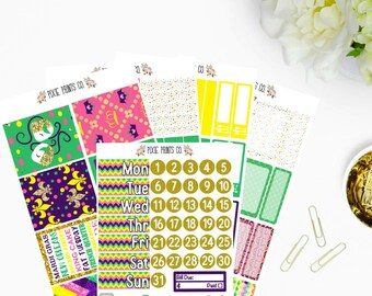 Mardis Gras Planner Sticker Kit for use with, Erin Condren, Life Planner, Happy Planner, Mambi, Recollections Planner, Planner Stickers