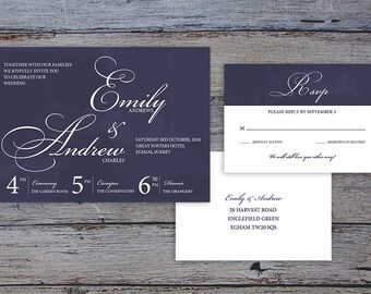 FLAMBOYANT SCRIPT Suite - Printable Template Wedding Invitation & RSVP - Classic Calligraphy Design by Flamboyant Invites