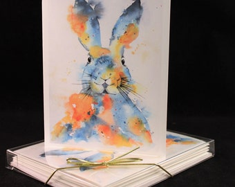 Set of bunny Original Watercolor  PRINT Note Cards/Greeting Cards (Set of Four) easter cards,Watercolor Cards