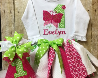 Girl First Birthday Butterfly Outfit, 1st Birthday Girl, Butterfly Outfit, 1st Birthday Outfit, Girl Birthday Shirt, 1st Birthday Bodysuit