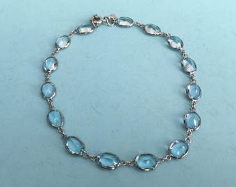 Aquamarine and 14k White Gold Bracelet - Bridal Jewelry, March Birthday, Pisces gift