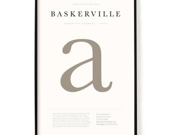 """Baskerville Poster, Screen Printed, Archival Quality, Wall Art, Poster, Designer Gift, Typography Print, 24"""" x 36"""""""