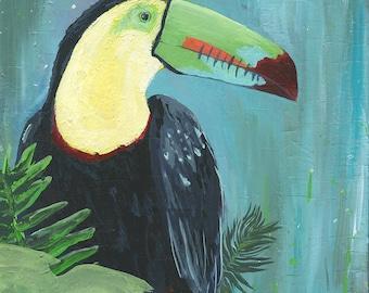 Poster, Toucan, Tropical Bird in a Fern Paradise, Bright Modern Artwork, Home Wall Decor, Acrylic Paint by an Australian Artist