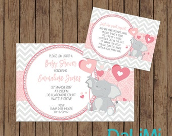 Baby Shower Invitation - Elephant Invitation - Elephant Baby Shower Invitation - Printable Invitation - Personalised - Digital File!