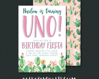 First Birthday Fiesta Invitation | UNO | 1st Birthday Party | 5x7