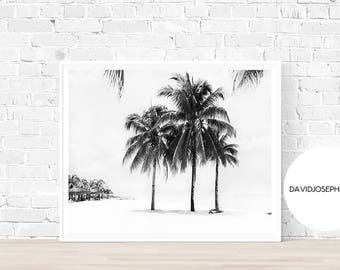 Palm Tree Print, Black and White, Ocean Print, Summer Print, Digital Print, Palm Poster, Palm Wall Art, Tropical Print, Instant Download