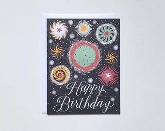 Fireworks Happy Birthday Note Card