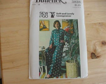 1970s Butterick Pattern 3828, Misses' Loose Fitting Flared Top, Flared Pants, Loungewear,  Size 14, Bust 36, Uncut