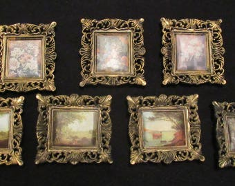 """Set of 7 Vintage Ornate Hard Plastic Gilt Miniature Picture Frames With Satin Prints 4"""" x 3 5/8"""" Hong Kong 1970's Wedding Table Numbers"""