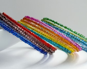 Memory wire bracelet. Multi colored seed beads. You choose. wrap bracelet.