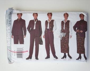 90s jacket / blouse / skirt / vest / pants / conservative suit/ 1997 vintage sewing pattern, Sizes 14 16 18, Bust 36 38 40, Butterick 5199
