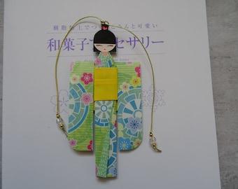 BMA00005 Handmade Kawaii cute Japanese Origami Geisha bookmark Shiori Ningyo Washi Chiyogami Yuzen Kokeshi paper craft back to school