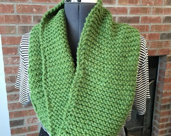 Handknit Apple Green Cowl