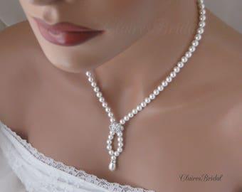 Pearl Bridal Necklace Swarovski Pearl Necklace Bridal Jewelry Wedding Jewelry Cubic Zirconia