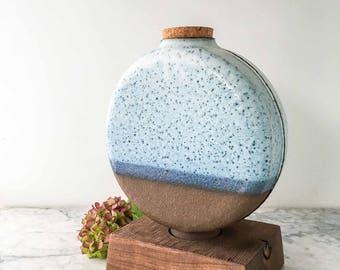 Unique Sculptural Urn with Walnut Base