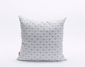 "White on Gray Square Geo origami Cushion Cover  19.5x19.5"" - 50x50cm. Nature inspired Decorative Design. Removable Cotton print, Geo pillow"